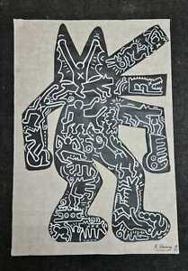 Acrylic painting (The Wolf) by Keith Haring