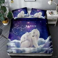 White Polar Bear 3D Quilt Duvet Doona Cover Set Single Double Queen King Print