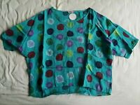 C. Valentyne Women's Blue Polka Dot Linen Top Free Size New With Tags