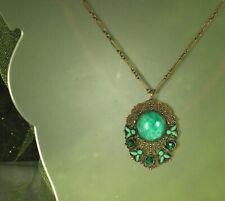 "ART DECO Necklace 1930s PEKING Glass Green ENAMEL Emerald RHINESTONES 22"" Fab!"