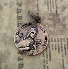 Antique French Religious Medal Saint Theresa St Therese Infant of Jesus Vintage