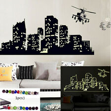 gift&CITY AT NIGHT POSTER GLOW IN THE DARK STICKERS WALL ART LIVING ROOM DECOR