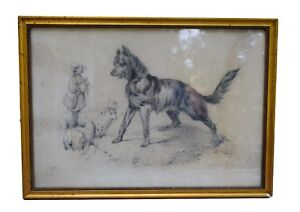 French Antique 19th.c Pencil Drawing Shepherd Dog Herd Sheep Signed Dated 1879