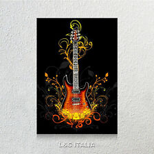 Guitar fire 1 QUADRO MODERNO 50x70 STAMPA SU TELA ARREDO CASA CHITARRA FENDER