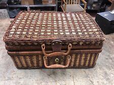 Vintage Grey Goose Vodka Wicker Basket Bottle Suitcase Picnic Beach Camping
