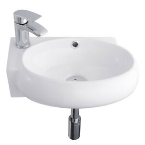 Bathroom Basin Wash Sink Wall Mounted With Cloakroom Chrome Mixer Taps & Waste