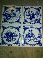 Vintage 6in X 6in Blue Holland Ceramic Tile Made In Belgium