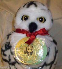 Vintage 1990 APPLAUSE WWF SNOWY OWL PLUSH Brass World Wildlife PANDA Ornament
