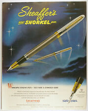 Vintage 1953 SHEAFFER'S SNORKEL Fountain Pen  Full Page Print Ad