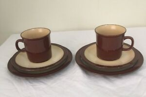 Cups Sauces Plates 2 Trio's Brighton Made In Japan Stoneware Excellent Condition