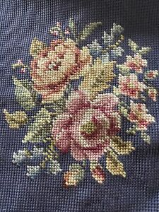 """Vintage Floral Needlepoint Chair Seat or Pillow Cover 18"""" x 19  Deep Blue"""