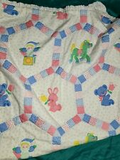 VTG Baby Quilt, Blue, Yellow, PINK, JACK-IN-THE-BOX HORSES TEDDY BEAR RABBIT EUC