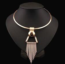 Fashion Vintage Women Collar Bib Gold Chain Statement Necklace Tassels Pendant