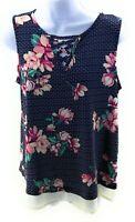 AKA Posh Top Womens Size Small Blue Floral Sleeveless