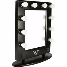 Ver Beauty Black Matte, Lighted Hollywood Vanity Mirror with Dimmer