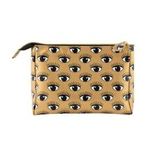 MAKE UP COSMETIC BAG ZIP BLACK GOLD PVC RETRO EYES ON YOU RANGE BY SASS & BELLE