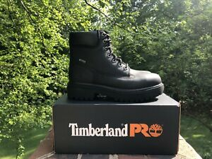 Men's Timberland PRO 6 Inch Steel Toe Work Boots Black Leather Size 7