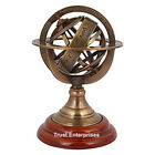 Antique Sphere Armillary Nautical World Globe Table Top Brown Wooden Base
