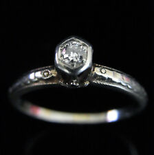 c. 1920s Art Deco Old Euro Cut 18k White Gold Promise Engagement Ring Vintage