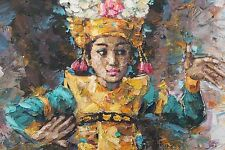 """""""Legong Dancer"""" Oil Painting from Bali, Indonesia (53""""x46""""x1.5"""") - Authentic"""