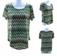 Rue Juju Top Womens Large Shirt Multi Color Stripes Short Sleeve Casual