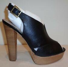 c021c5dfdd10 Steve Madden Giigi Black Leather PEEP Toe Stacked Platform Taper HEELS  Shoes 9.5