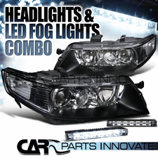 04-05 Acura TSX 4Dr Sedan Crystal Black Projector Headlights+6-LED Fog Lamps