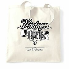 Birthday Tote Bag Vintage Est. 1975 Aged To Perfection Distressed 43 Years