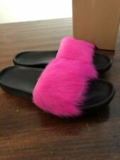 UGG ROYALE 1018875 NEON PINK TOSCANA FLUFFIE SLIDE SLIPPERS SIZE 9 NEW AUTHENTIC