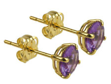 Solid 9ct gold real Amethyst gemstone stud earrings, 5mm new February birthstone