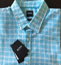 HUGO BOSS Ronn Slim Fit Blue Mens Shirt Size L $155