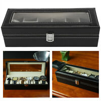 Leather Watch Box Case For Men Women Wrist Display Jewelry Organizer Storage GF