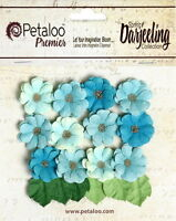 Mini Daisies TEAL AQUA BLUE 12 Flowers 2cm+6 Leaves 15x22mm PAPER Darjeeling Ver
