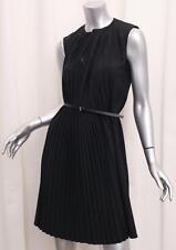 BOUDICCA Womens Black Wool Pleated Sleeveless Shift Dress+FENDI BELT UK 8/US 4/S