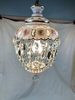 VINTAGE BOHEMIAN OVERLAY WHITE GLASS CUT TO CLEAR Hand Painted CEILING LIGHT 75