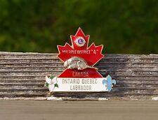 Lions Pin Pinback Multiple District A Canada Ontario Quebec Labrador Beaver Leaf