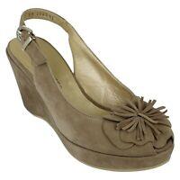 Ladies Peter Kaiser Suede Leather Wedge Heel Peep Toe Sandals - Bezen Size UK 4