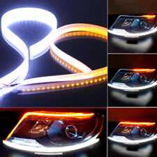 2x 60cm Flexible White+Amber LED Light Strip Car DRL Headlight Mount Indicator