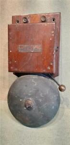 Vintage Mahogany & Brass Electric Doorbell