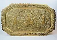 """Superb Antique Indo-Persian Hand Tooled Hammered Brass Tray 20"""" by 12"""" Ganesha"""