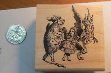 "P13 Alice in Wonderland mock turtle 2x1.7 "" WM rubber stamp"