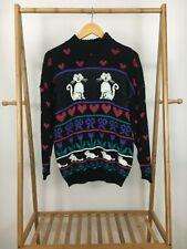 VTG Adele Knitwear Kitten Cat Heart Floral Kawaii Fairy Kei Novelty Sweater Sz L