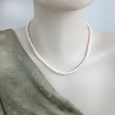 5 mm, Freshwater Pearl Necklace  Natural White Pearl - 40 cm + extension