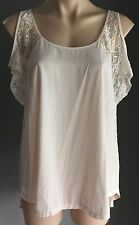 Darling Champagne/Ivory SPORTSGIRL Lace Cold Shoulder Top Size 10