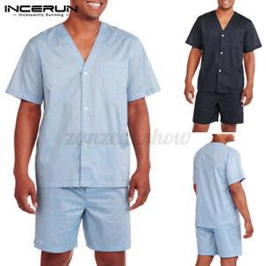 Mens Short Sleeve Shorts Pajamas Set Casual Loose Sleepwear Loungewear Nightwear