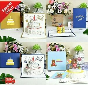 3D Pop-Up Cards Birthday Card Kids Wife Husband Greeting Postcard with Envelop