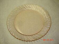 "Arcoroc France Glassware Rosaline Pink Swirl 7 3/4"" Luncheon Plate"