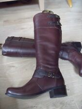 MILITARY STYLE CHESTNUT BROWN  SOFT LEATHER  KNEE HIGH BOOT 3/ 36