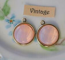 Vintage Charms Pink Opal Dangles Drops Glass Drops Shabby Gold Plated NOS #1336C