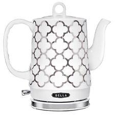 BELLA Electric Ceramic Kettle, White & Silver - Tea Pot Teapot Handle 14522, New